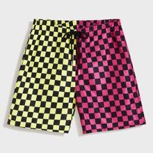 Men Drawstring Waist Colorblock Checker Shorts