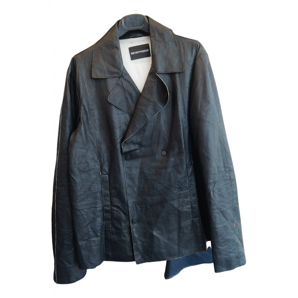 Emporio Armani \N Black Leather jacket  for Men 48 IT