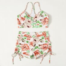 Floral Ruched Tie Side Shorts Bikini Swimsuit