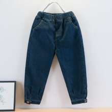 Toddler Boys Buttoned Hem Solid Jeans