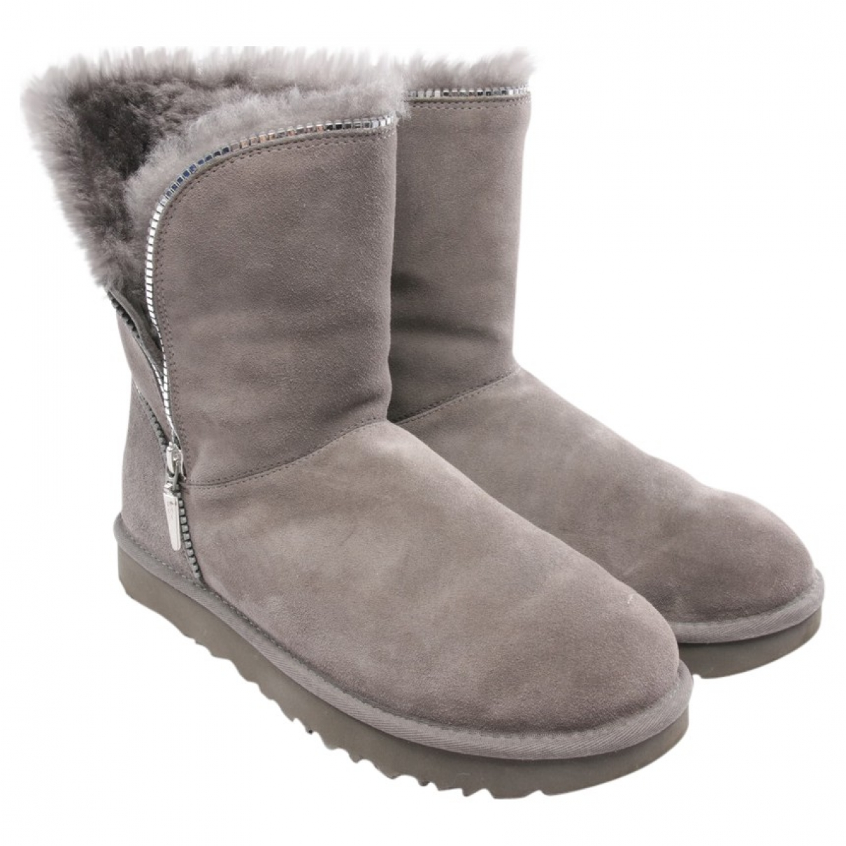 Ugg \N Grey Cloth Ankle boots for Women 41 EU