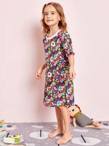 Toddler Girls Floral & Cartoon Graphic Nightdress