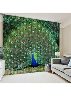 3D Elegant Peacock with Opening Tail Printed Animal Style Blackout and Decoration Polyester Curtain