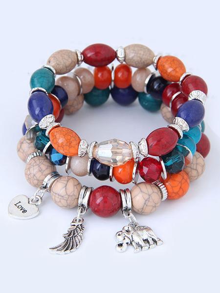 Milanoo Women Strand Bracelet Boho Gem Metallic Pendant Wrap Bracelet
