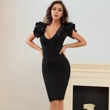 Lucra Zip Back Exaggerated Ruffle Midi Bodycon Dress