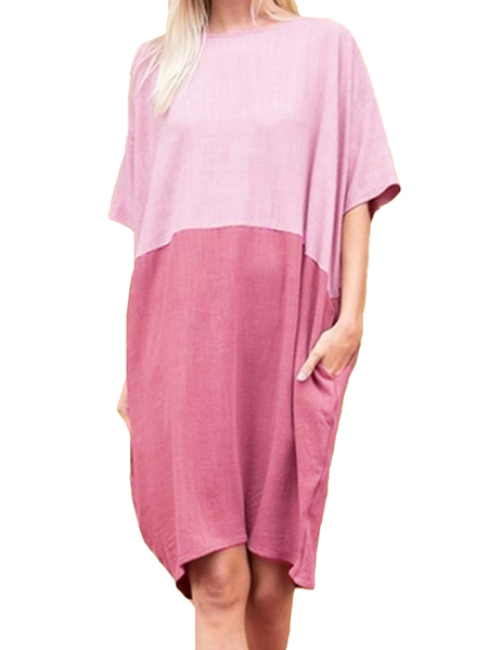 Yoins LyRay Color Block Round Neck Pockets Half Sleeves Dress