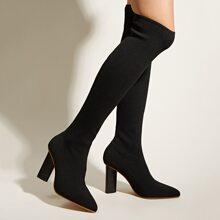 Botas de rodilla con tacon grueso de punta
