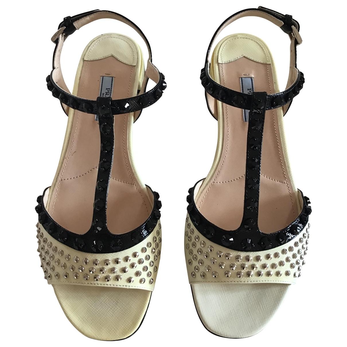 Prada - Sandales   pour femme en cuir - ecru