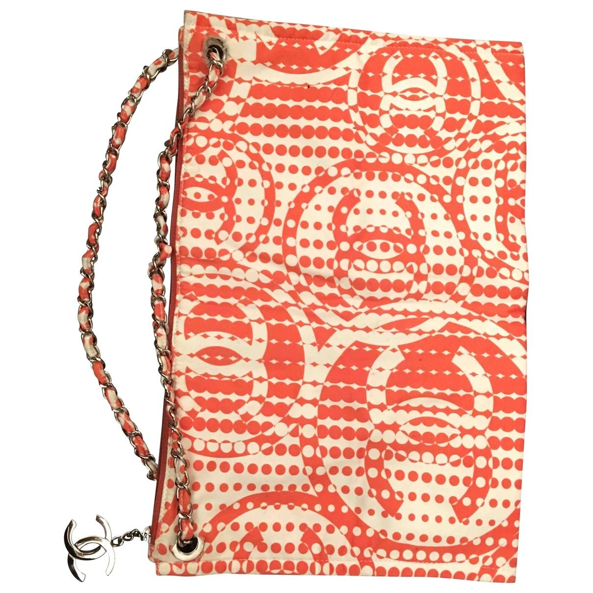 Chanel - Sac a main   pour femme en coton - orange