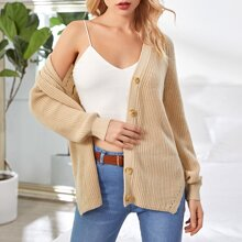 Button Front Rib-knit Split Hem Cardigan