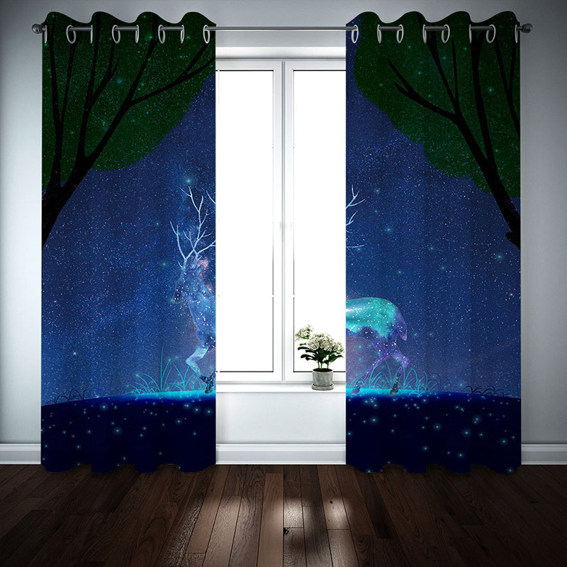 3D Galaxy and Elk Printed Blackout Decoration 2 Panels Curtain Drapes for Living Room No Pilling No Fading No off-lining