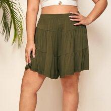 Plus Solid Flounce Shorts