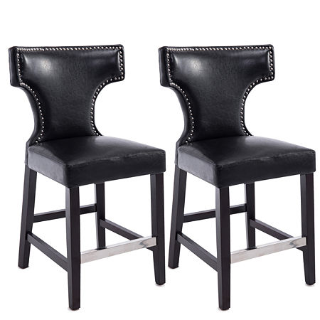 Kings Metal Studded Bonded Leather Counter Height Bar Stool, One Size , Black