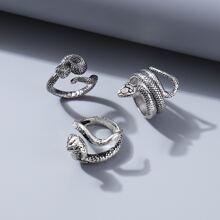 3 piezas anillo con serpiente