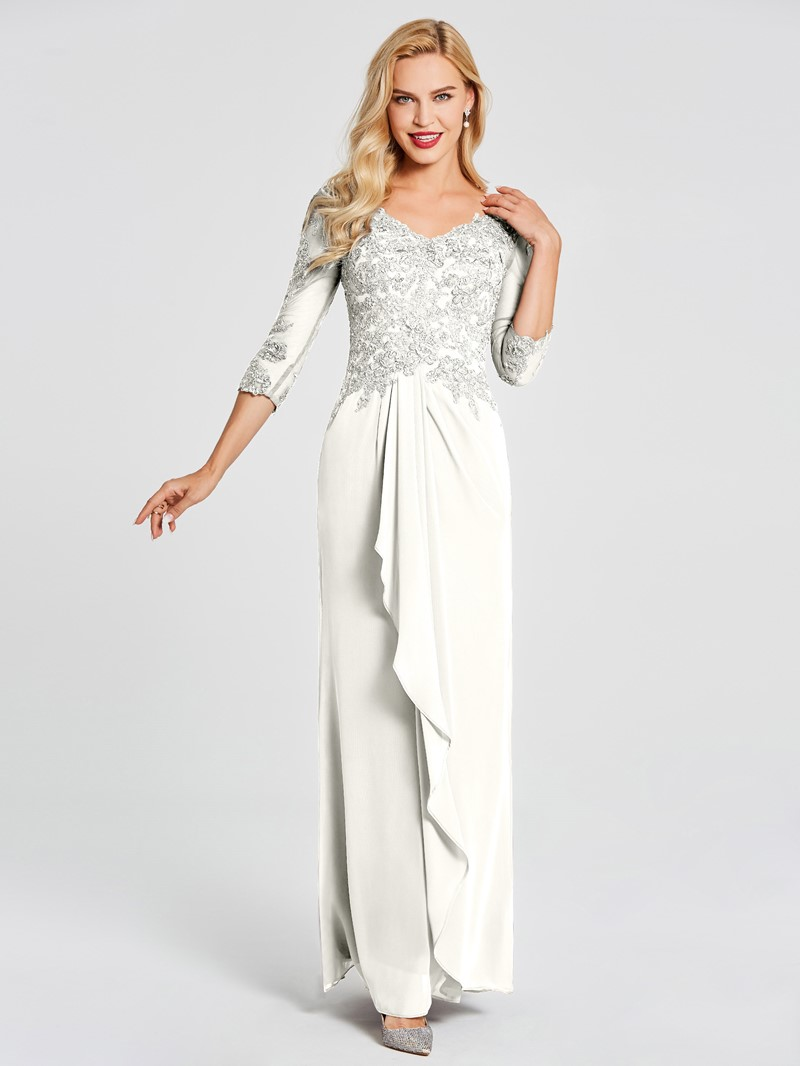 Ericdress Sequins Appliques Mother of the Bride Dress with Sleeves
