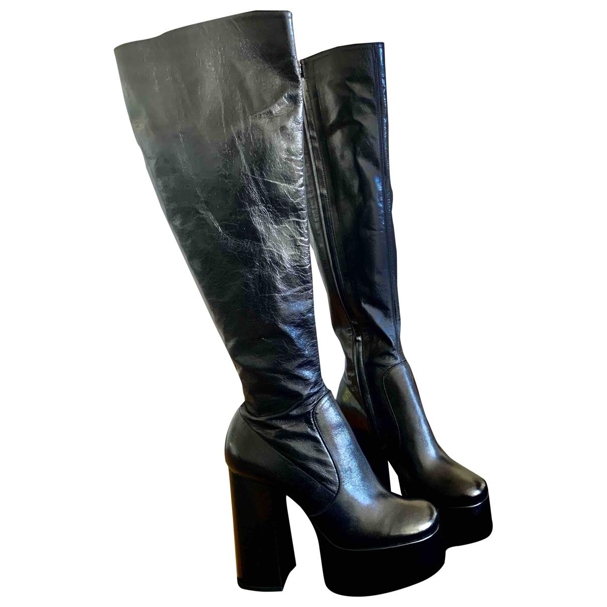 Saint Laurent Billy Black Leather Boots for Women 37.5 EU