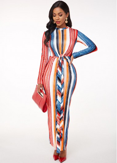 Cocktail Party Dress Striped Round Neck Long Sleeve Maxi Dress - L