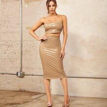 PU Leather Bandeau Top & Pencil Skirt Set