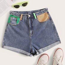 Jeans Shorts mit Tasche und Farbblock