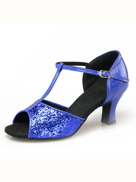 Milanoo Zapatos De Fiesta Plateados Brillantes Punta Abierta Tira De T Zapatos Baile