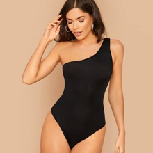 Solid One-Shoulder Cheeky Bodysuit
