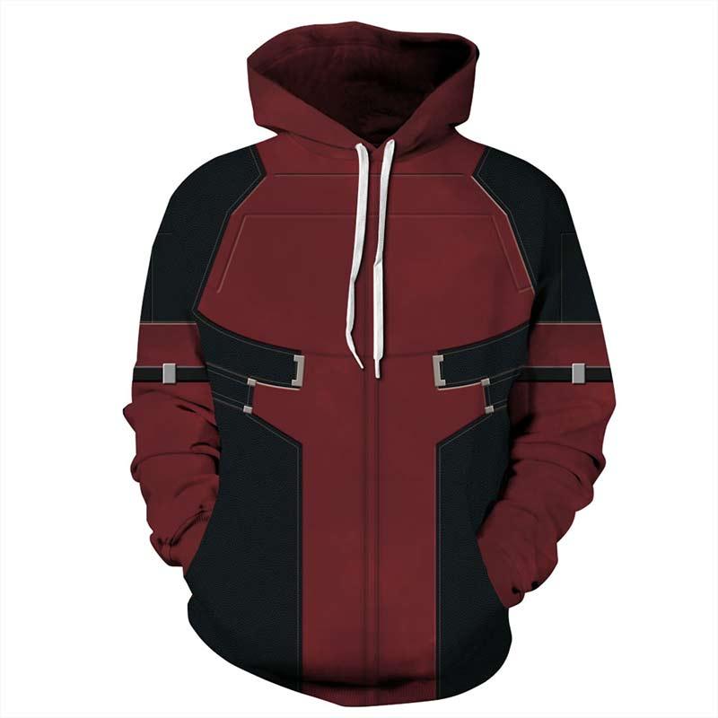 Long Sleeve Black and Red Pattern 3D Painted Hoodie