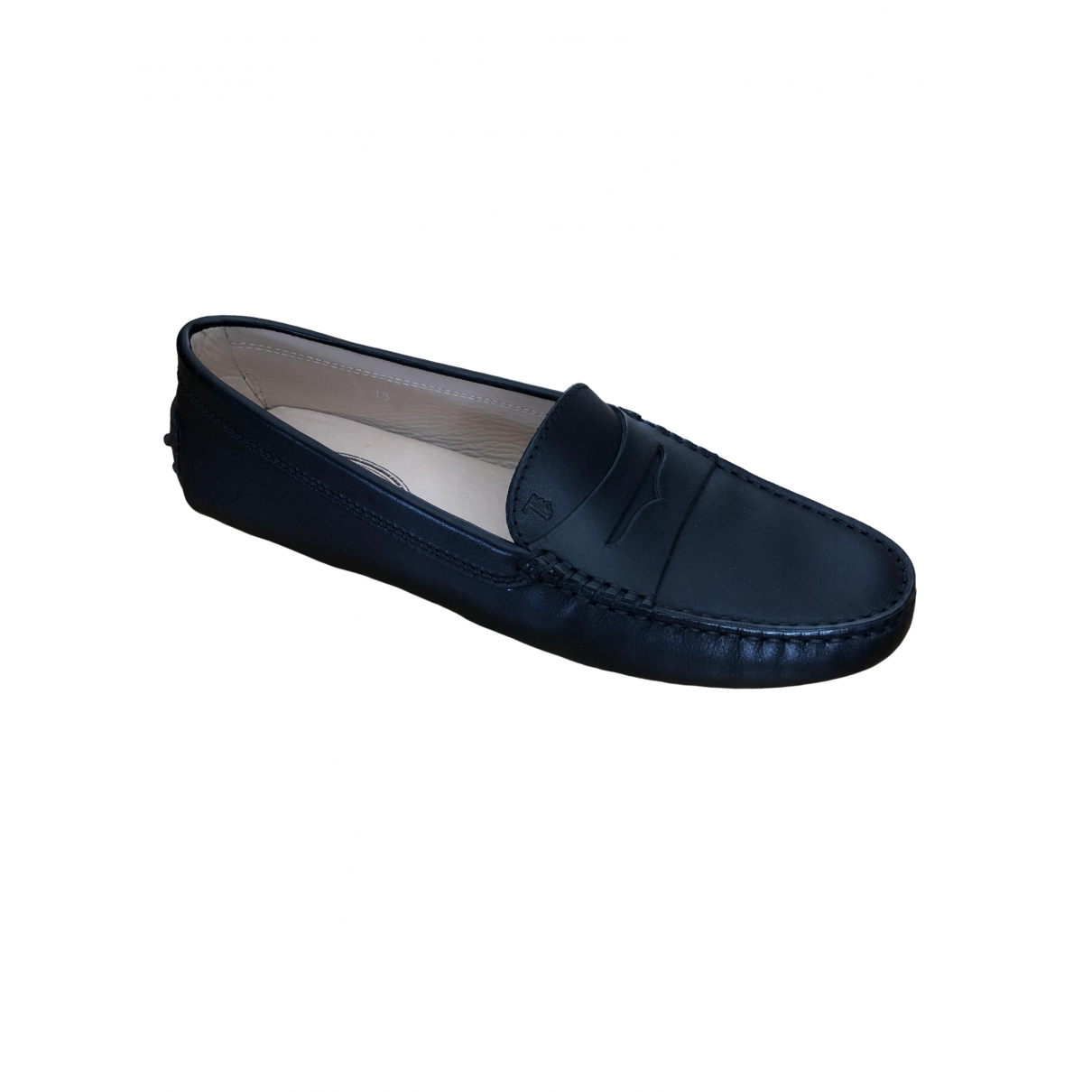Tod's Gommino Black Leather Flats for Women 39 EU