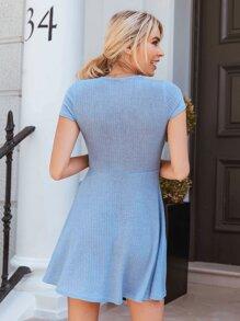 V-neck Button Front Rib-knit Dress