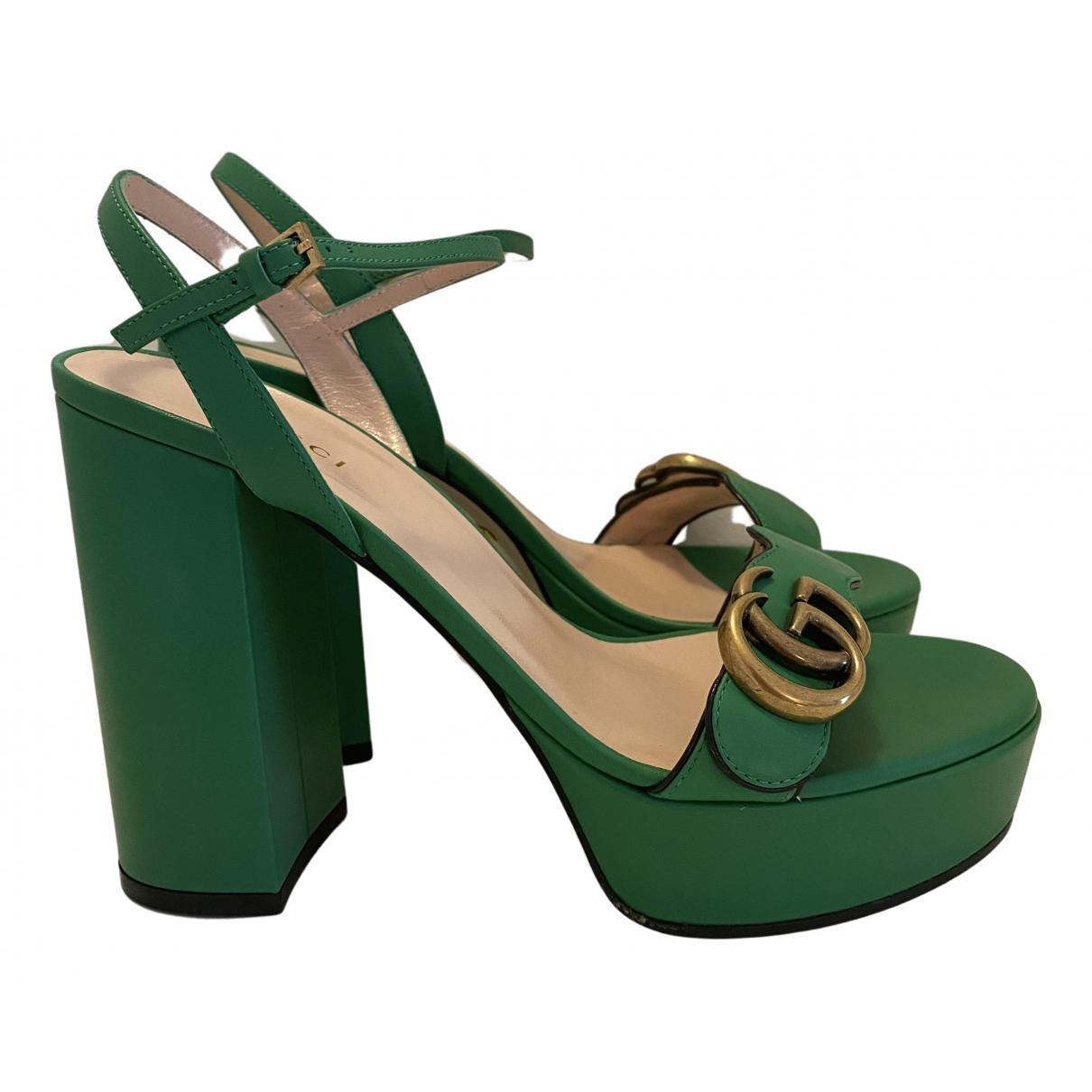 Gucci - Sandales Marmont pour femme en cuir - vert