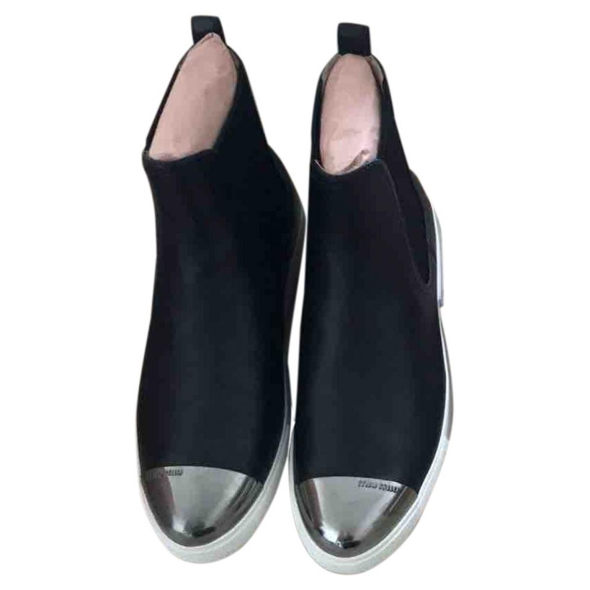 Miu Miu - Boots   pour femme en cuir - noir