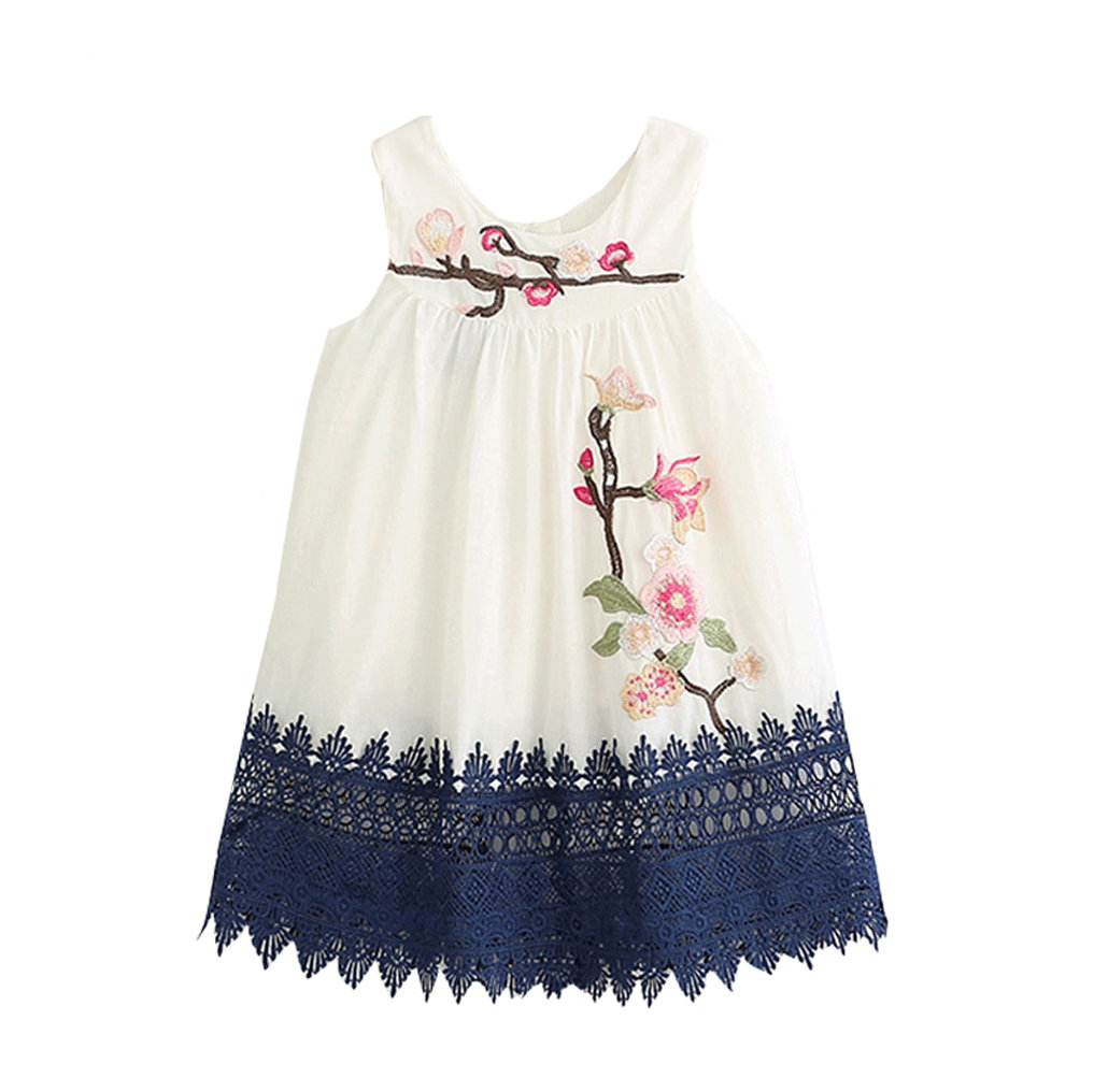 Flower Embroidery Toddler Girls Kids Lace Patch Princess Dress For 2Y-9Y