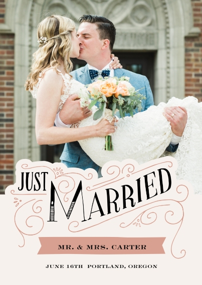 Just Married 5x7 Cards, Premium Cardstock 120lb, Card & Stationery -19th Century Nuptials Announcement