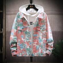 Denim Jacke mit Batik und einreihiger Knopfleiste ohne T-Shirt