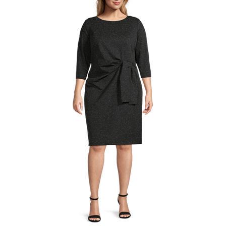 Liz Claiborne-Plus 3/4 Sleeve Sheath Dress, 1x , Black