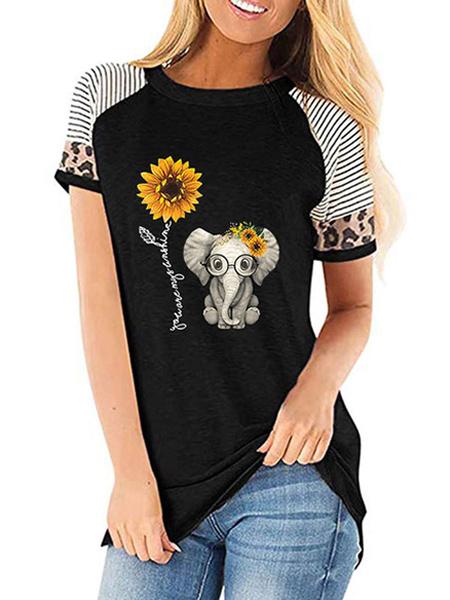 Milanoo Camiseta de manga corta con cuello de algodon y poliester para mujer