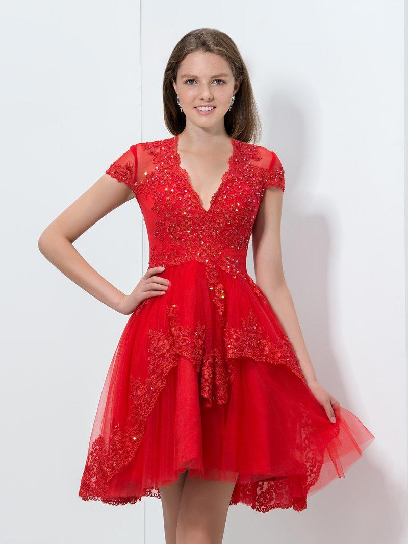 Ericdress V-Neck Appliques Sequins Short Homecoming Dress