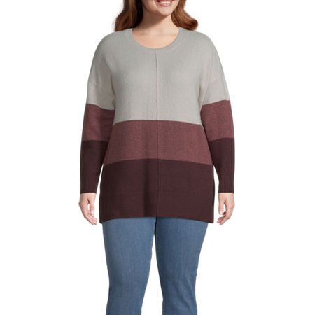 a.n.a-Plus Womens Round Neck Long Sleeve Pullover Sweater, 2x , Red