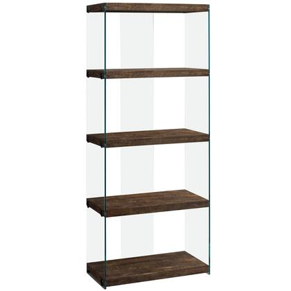 333538 124 Bookcase with 4 Fixed Clear Tempered Glass Shelves  Clear Glass Side Panels  Laminated and Particle Board Construction in