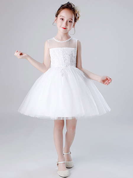 Milanoo Vestidos de niña de las flores Cuello joya Tul Sin mangas Hasta la rodilla Princesa Silueta Vestidos de fiesta social para niños bordados