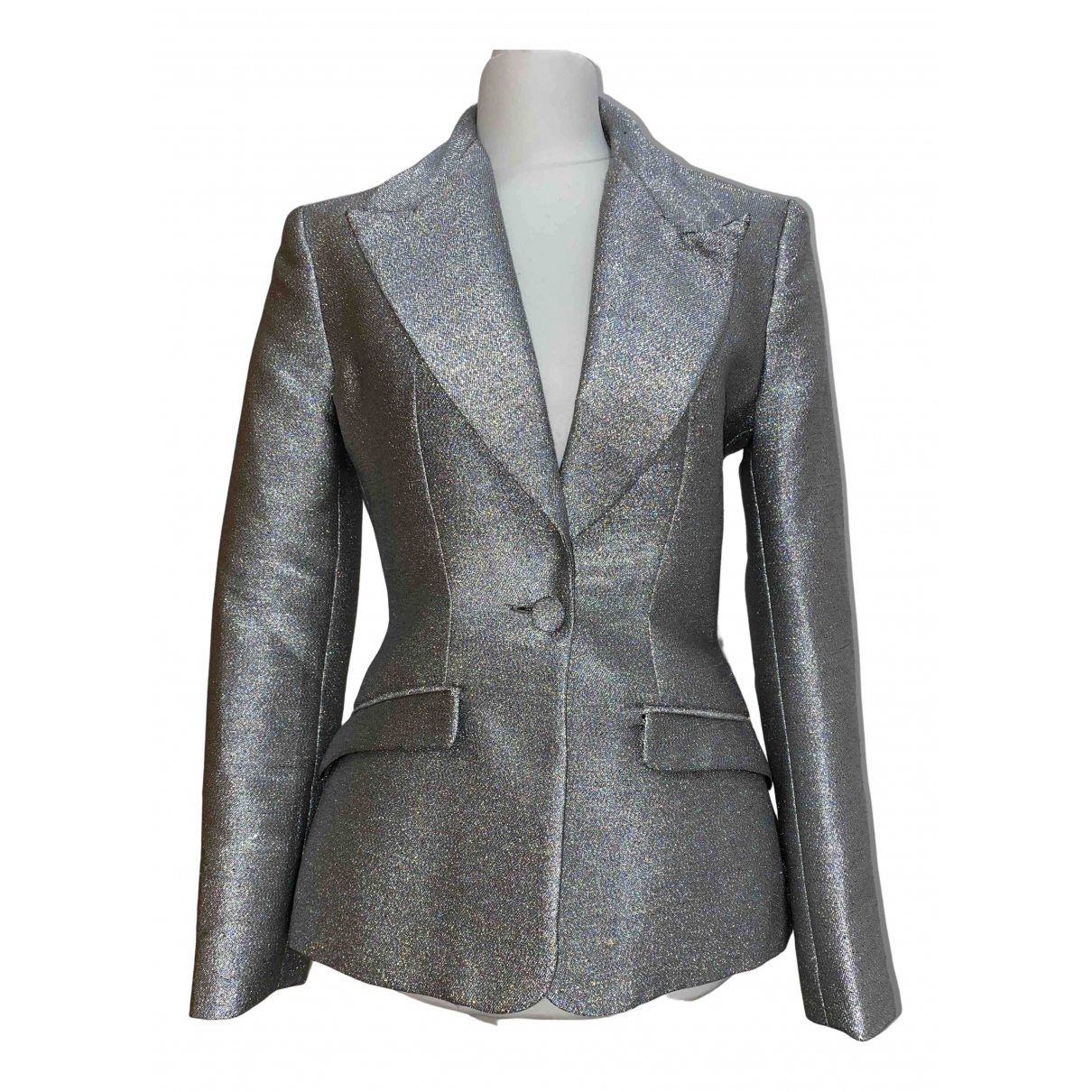 Non Signé / Unsigned N Silver jacket for Women 8 UK