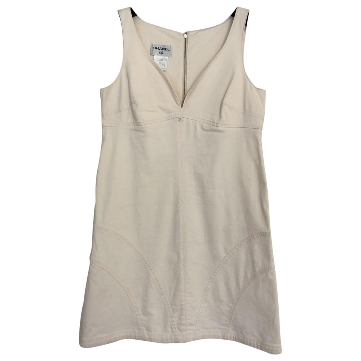 Chanel \N Kleid in  Ecru Baumwolle - Elasthan