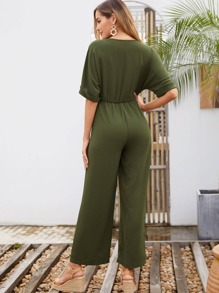 Roll-up Sleeve Drawstring Waist Dual Pocket Jumpsuit