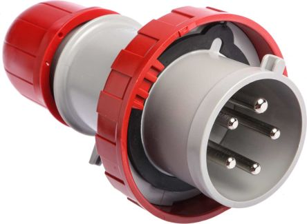 RS PRO IP67 Red Cable Mount 3P+N+E Industrial Power Plug, Rated At 32.0A, 415.0 V