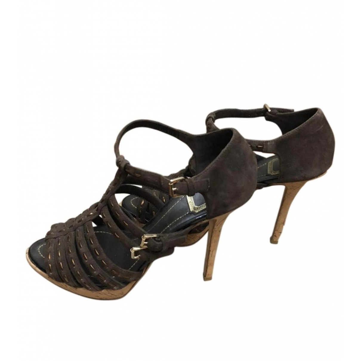 Dior - Sandales   pour femme en suede - marron