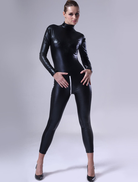 Milanoo Morph Suit Black Shiny Metallic Fabric Catsuit For Womens Body Suit