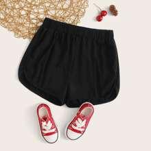 Schwarz Einfarbig Laessig Maedchen Shorts