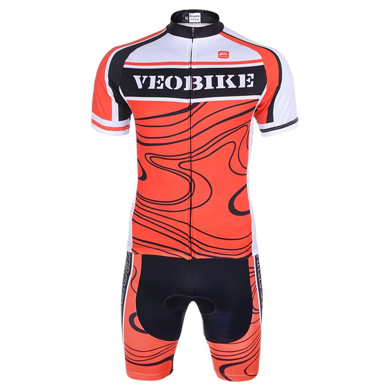 Men's Cycling Orange Red Clothing Set Breathable Quick Dry Jersey Glitter
