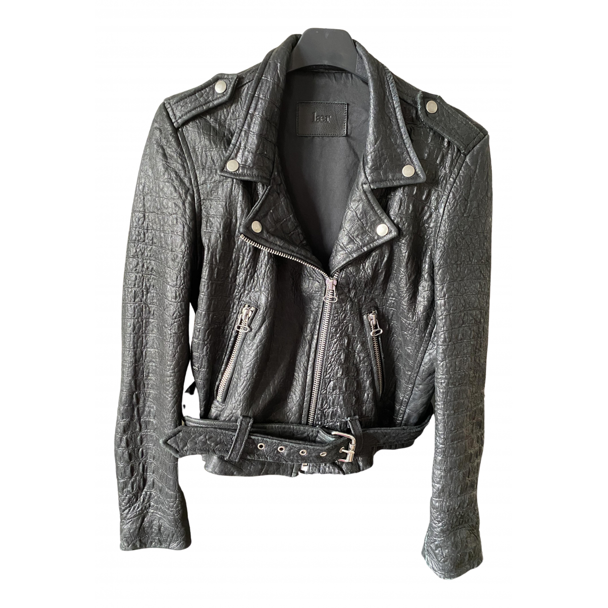 Non Signé / Unsigned \N Black Leather Leather jacket for Women M International