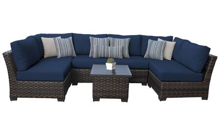 RIVER-07c-NAVY Kathy Ireland Homes and Gardens River Brook 7-Piece Wicker Patio Set 07c - 1 Set of Truffle and 1 Set of Midnight