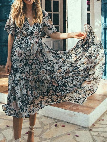 Milanoo Vestido boho con cuello en v manga corta estampado floral Vestido de playa extragrande